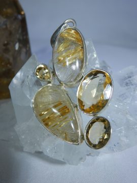 Rutilated Quartz with Citrine Pendant
