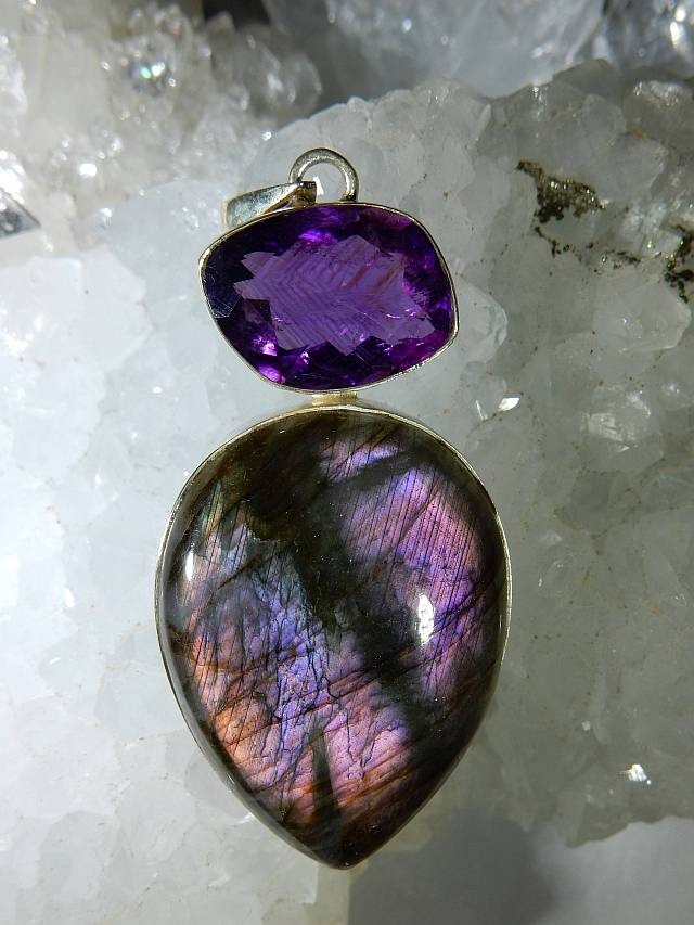 Labradorite purple flash with amethyst pendant in sterling silver labradorite purple flash with amethyst pendant in sterling silver heaven nature store aloadofball Gallery
