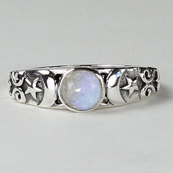 Triple Moon Ring With Moonstone In Sterling Silver Heaven Nature