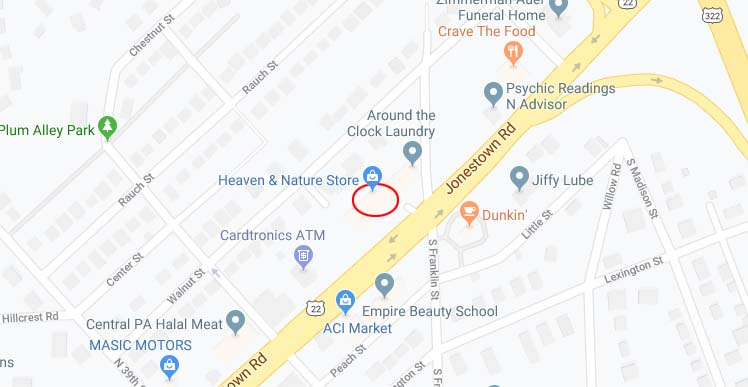 Heaven & Nature Store Map - Harrisburg Location